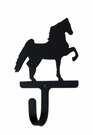 Small Decorative Wrought Iron Wall Hook - Saddle Horse