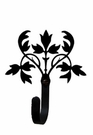 Small Decorative Wrought Iron Wall Hook - Floral