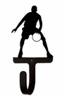 Small Decorative Wrought Iron Wall Hook - Sport, Basketball Player