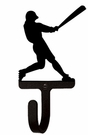 Small Decorative Wrought Iron Wall Hook - Sport, Baseball Player
