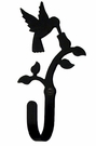 Small Decorative Wrought Iron Wall Hook - Hummingbird