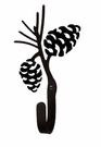 Small Decorative Wrought Iron Wall Hook - Pinecone