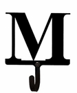 Small Decorative Wrought Iron Wall Hook - Letter M