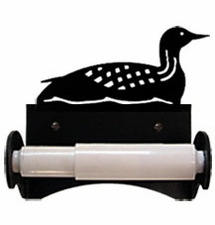 Wrought Iron Toilet Tissue / Paper Holder, Loon / Duck, Roller Style