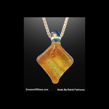 """Gingerbread"" Dichroic-Glass Pendant"