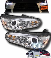HID Xenon + 08-13 Mitsubishi Lancer / Evo X (Non-HID) Angel Eye Halo & LED DRL Projector Headlights - Chrome