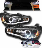 HID Xenon + 08-13 Mitsubishi Lancer / Evo X (Non-HID) Angel Eye Halo & LED DRL Projector Headlights - Black