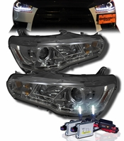 HID Xenon + 08-13 Mitsubishi Lancer / Evo X (Non-HID) Angel Eye Halo & LED DRL Projector Headlights - Smoked