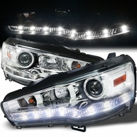 08-13 Mitsubishi Lancer / Evo X LED DRL Projector Headlights - Chrome
