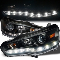 08-13 Mitsubishi Lancer / Evo X LED DRL Projector Headlights - Black