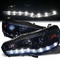 08-13 Mitsubishi Lancer / Evo X LED DRL Projector Headlights - Gloss Black