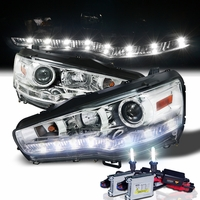 HID Xenon + 08-13 Mitsubishi Lancer / Evo X LED DRL Projector Headlights - Chrome