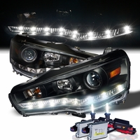 HID Xenon + 08-13 Mitsubishi Lancer / Evo X LED DRL Projector Headlights - Black