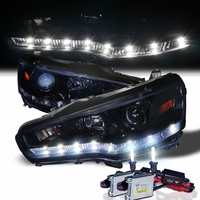 HID Xenon + 08-13 Mitsubishi Lancer / Evo X LED DRL Projector Headlights - Gloss Black