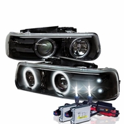 HID Xenon + 99-02 Chevy Silverado / Suburban / Tahoe Angel Eye Halo & LED Projector Headlights - Black