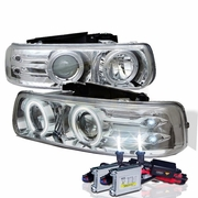 HID Xenon + 99-02 Chevy Silverado / Suburban / Tahoe Angel Eye Halo & LED Projector Headlights - Chrome
