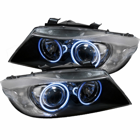 06-08 BMW E90 3-Series 328i 335i CCFL Angel Eye Halo Projector Headlights - Black