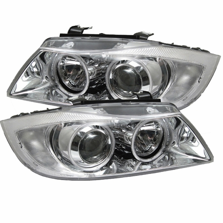 06-08 BMW E90 3-Series 328i 335i CCFL Angel Eye Halo Projector Headlights - Chrome