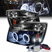 HID Xenon + 04-12 Nissan Titan Dual Halo & LED Projector Headlights - Black