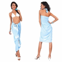 High-End Pertama Sarong Embroidered/Hand Painting in Light Blue