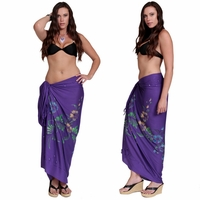 Sequined / Embroidered with Butterflies Sarong in Purple