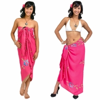 Hand Painted Floral Sarong in Pleasantly Pink