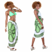 Lotus Floral Sarong in Green/White
