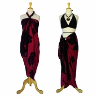 Hibiscus Floral Sarong Purplish / Black