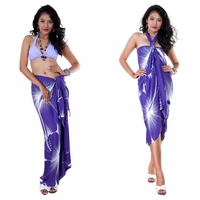 Big Hibiscus Floral Sarong in Dark Purple