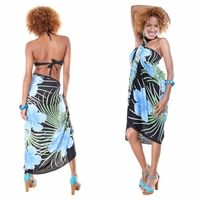 Hawaiian Floral Sarong in Blue/Black