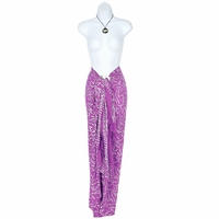Spring Leaves Sarong in Light Purple / White