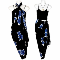 Plumeria Sarong in Blue / Black