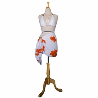 Hibiscus Flower Half Sarong in White / Orange