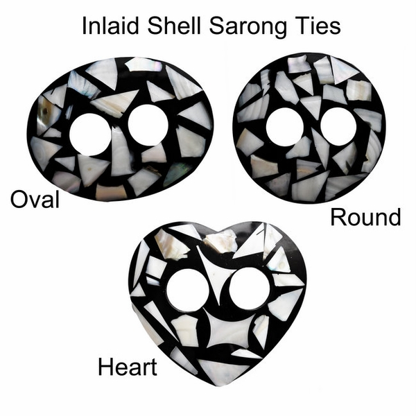 Inlaid Shell Sarong Ties - Black/White Heart