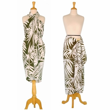 Pareo / Sarong / Pareau Hawaiian Style Floral Wrap Palm Tree - White/Dark Green