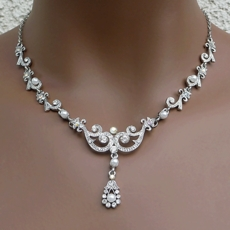 ANNABELLE WHITE FAUX PEARL VINTAGE-STYLED WEDDING JEWELRY SET