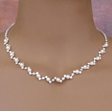 BEST OF SHOW WHITE FAUX PEARL BRIDAL JEWELRY NECKLACE SET