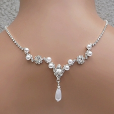 LOOK OF LOVE FAUX PEARL WHITE-SILVER WEDDING JEWELRY SET