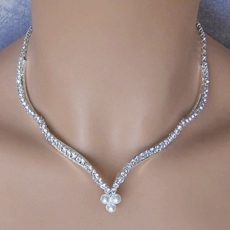 FALL IN LOVE PEARL SILVER WEDDING JEWELRY SET