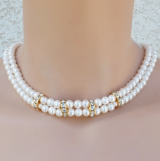 SINCERELY YOURS GOLD PEARL WEDDING CHOKER SET<BR>ONE REMAINING SET