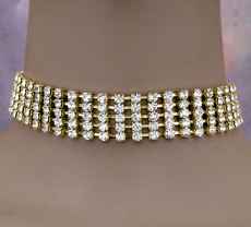 FIVE STRAND GOLD <br>RHINESTONE CHOKER SET