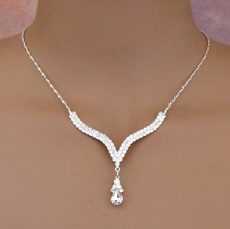 ELEGANT DROP RHINESTONE JEWELRY SET