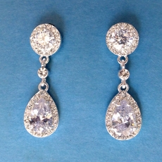 FELICITY CZ EARRINGS - CLIP-ONS or REGULAR PIERCED
