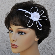 FABRIC FLOWER WHITE SATIN BRIDAL HEADBAND