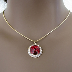 PROMISE CZ CUBIC ZIRCONIUM RED PENDANT JEWELRY SET ON GOLD - 3 REMAINING