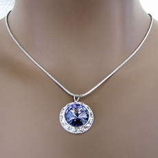 PROMISE PURPLE CZ RHINESTONE PENDANT JEWELRY SET