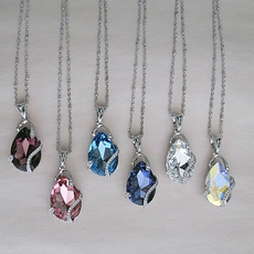 DIVINE SWAROVSKI CRYSTAL PENDANTS WITH CHAIN<br>ONLY ONE DEEP PURPLE REMAINING