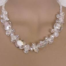 CRYSTAL CHARADE COSTUME JEWELRY<BR>WHITE CLEAR NECKLACE SET