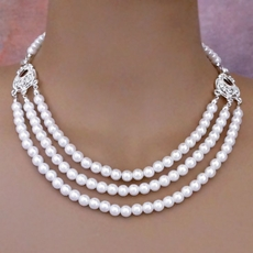 TAKE A BOW WHITE FAUX PEARL WEDDING JEWELRY SET