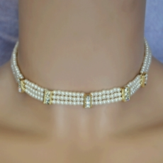SEGMENTED IVORY PEARL 3PC WEDDING CHOKER JEWELRY SET*<BR>ONE REMAINING SET